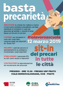 12 marzo 2019: Basta precarietà!! Sit in dei precari in tutte le città